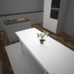 En första rendering av köket